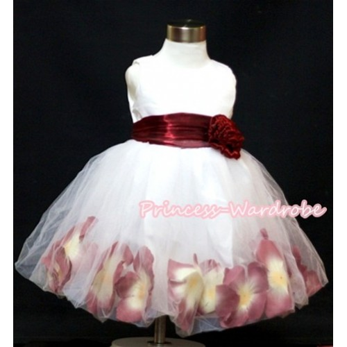 Wine Red Rose Waist, White Wedding Party Dress with Flower PD005