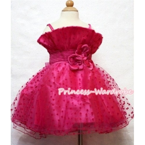 Hot Pink Oblique Front Top with Little Heart Wedding Party Dress PD007
