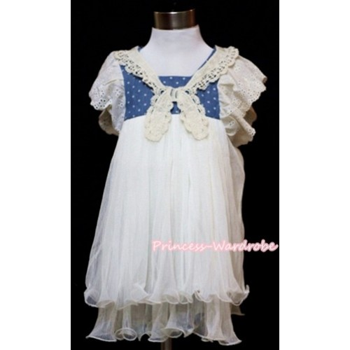Lady Stylish Blue White Dots Gown Pageant Girl Party Dress  PD012