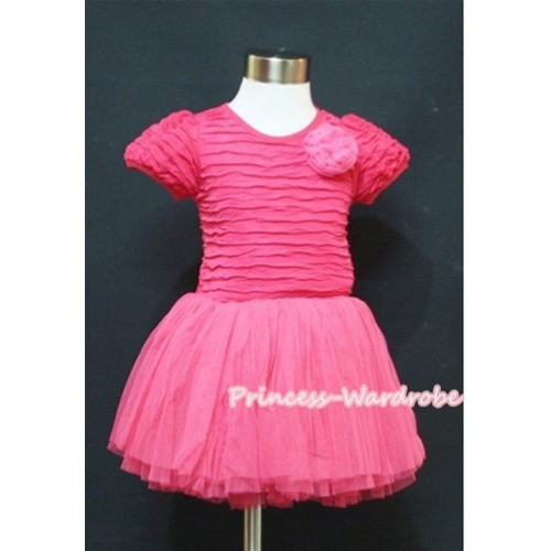 Hot Pink with Rose Crepe Paper Party Dress With One Hot Pink Rose PD011