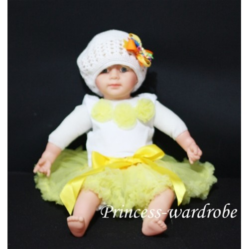 White Baby Pettitop with Yellow Rosettes NT06