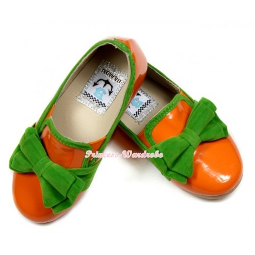 Bright Orange Kelly Green Bow Patent Leather Slip On Deck Boat Girl Shoes SE020