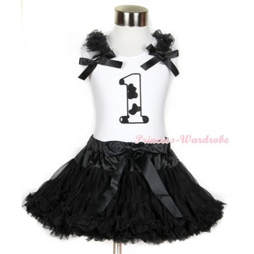 Halloween White Tank Top with 1st Milk Cow Birthday Number Print with Black Ruffles & Black Bow & Black Pettiskirt MG681