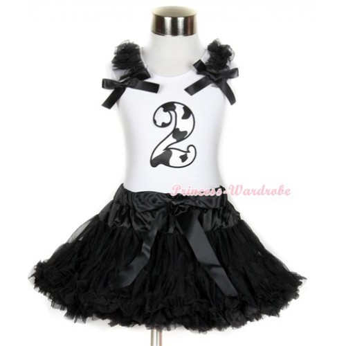 Halloween White Tank Top with 2nd Milk Cow Birthday Number Print with Black Ruffles & Black Bow & Black Pettiskirt MG682