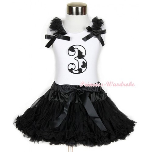 Halloween White Tank Top with 3rd Milk Cow Birthday Number Print with Black Ruffles & Black Bow & Black Pettiskirt MG683