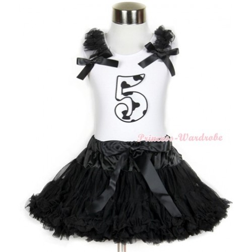 Halloween White Tank Top with 5th Milk Cow Birthday Number Print with Black Ruffles & Black Bow & Black Pettiskirt MG685
