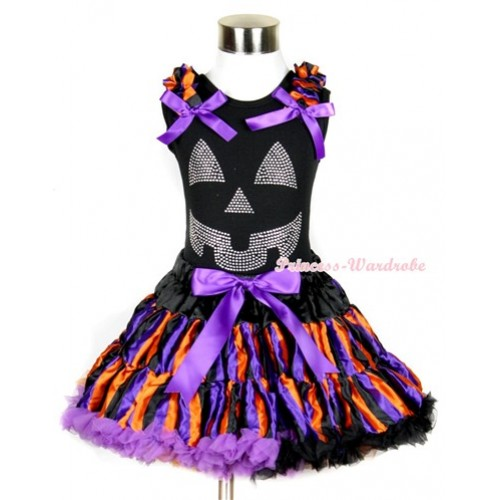 Halloween Black Tank Top with Sparkle Crystal Glitter Pumpkin Print with Dark Purple Orange Black Striped Ruffles & Dark Purple Bow & Dark Purple Orange Black Striped Pettiskirt MW229