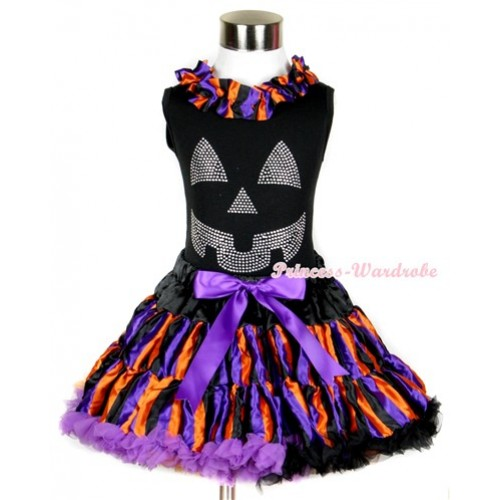 Halloween Black Tank Top with Sparkle Crystal Glitter Pumpkin Print with Dark Purple Orange Black Striped Satin Lacing & Dark Purple Orange Black Striped Pettiskirt MW232