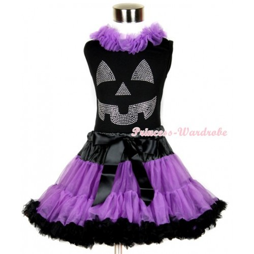 Halloween Black Tank Top with Sparkle Crystal Glitter Pumpkin Print with Dark Purple Chiffon Lacing & Black Dark Purple Pettiskirt MW234