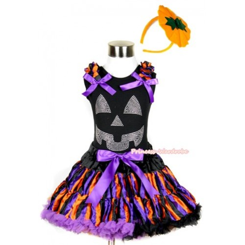 Halloween Black Tank Top with Sparkle Crystal Glitter Pumpkin Print with Dark Purple Orange Black Striped Ruffles& Dark Purple Bow & Dark Purple Orange Black Striped Pettiskirt With Pumpkin Costume MW236