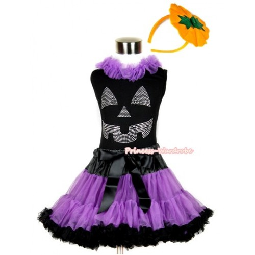 Halloween Black Tank Top with Sparkle Crystal Glitter Pumpkin Print with Dark Purple Chiffon Lacing & Black Dark Purple Pettiskirt With Pumpkin Costume MW239