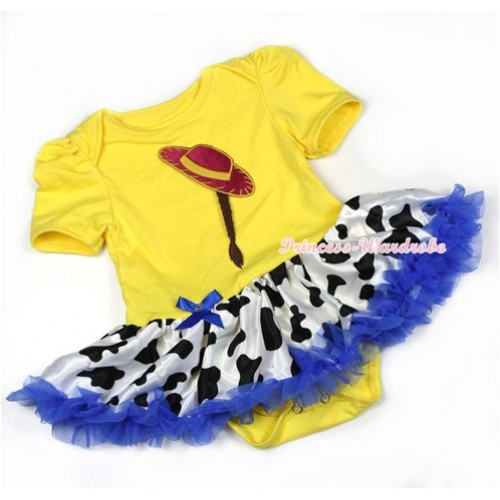 Yellow Baby Jumpsuit Royal Blue Milk Cow Pettiskirt with Cowgirl Hat Braid Print JS1286