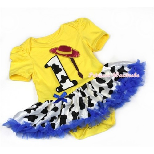 Yellow Baby Jumpsuit Royal Blue Milk Cow Pettiskirt with 1st Cowgirl Hat Braid Milk Cow Birthday Number Print JS1287