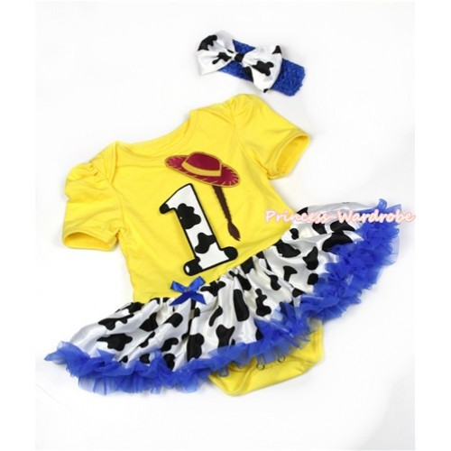 Yellow Baby Jumpsuit Royal Blue Milk Cow Pettiskirt With 1st Cowgirl Hat Braid Milk Cow Birthday Number Print With Royal Blue Headband Milk Cow Satin Bow JS1306
