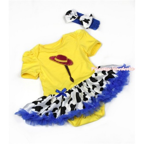 Yellow Baby Jumpsuit Royal Blue Milk Cow Pettiskirt With Cowgirl Hat Braid Print With Royal Blue Headband Milk Cow Satin Bow JS1307