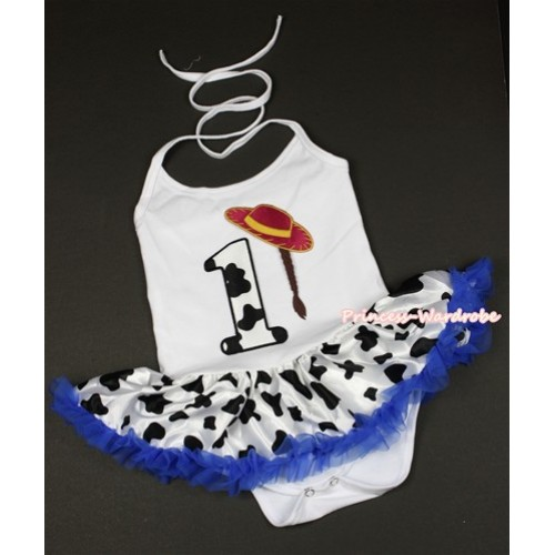 White Baby Halter Jumpsuit Royal Blue Milk Cow Pettiskirt With 1st Cowgirl Hat Braid Milk Cow Birthday Number Print JS1325
