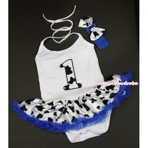 White Baby Halter Jumpsuit Royal Blue Milk Cow Pettiskirt With 1st Milk Cow Birthday Number Print With Royal Blue Headband Milk Cow Satin Bow JS1329