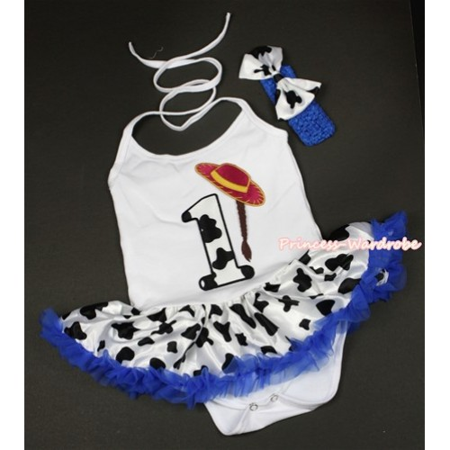 White Baby Halter Jumpsuit Royal Blue Milk Cow Pettiskirt With 1st Cowgirl Hat Braid Milk Cow Birthday Number Print With Royal Blue Headband Milk Cow Satin Bow JS1330