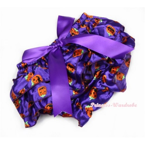 Halloween Dark Purple Pumpkin Satin Layer Panties Bloomers With Dark Purple Big Bow BC163
