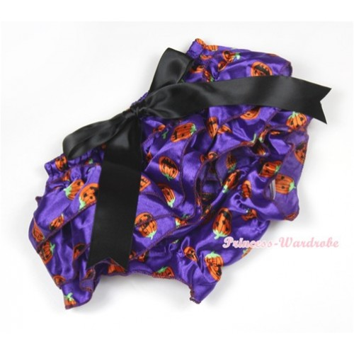 Halloween Dark Purple Pumpkin Satin Layer Panties Bloomers With Black Big Bow BC164