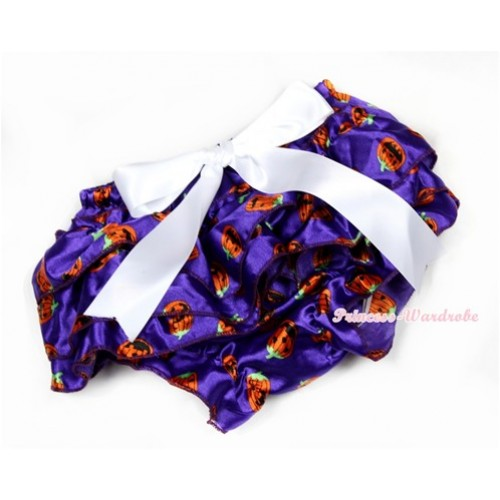 Halloween Dark Purple Pumpkin Satin Layer Panties Bloomers With White Big Bow BC166