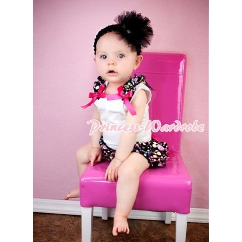 White Baby Pettitop & Rainbow Dot Ruffles & Hot Pink Bows with Rainbow Dot Satin Ruffles Bloomers LD211