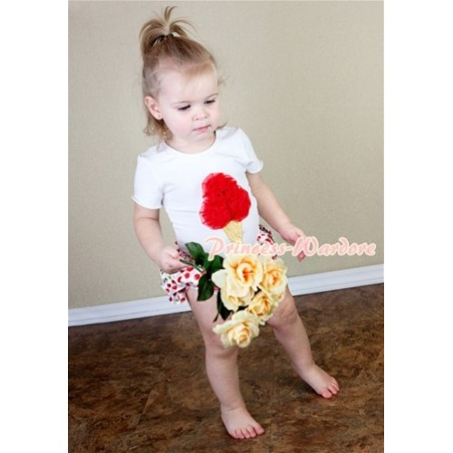 White Short Sleeves Baby Pettitop & Hot Red Ice Cream with White Cherry Satin Bloomers LD221