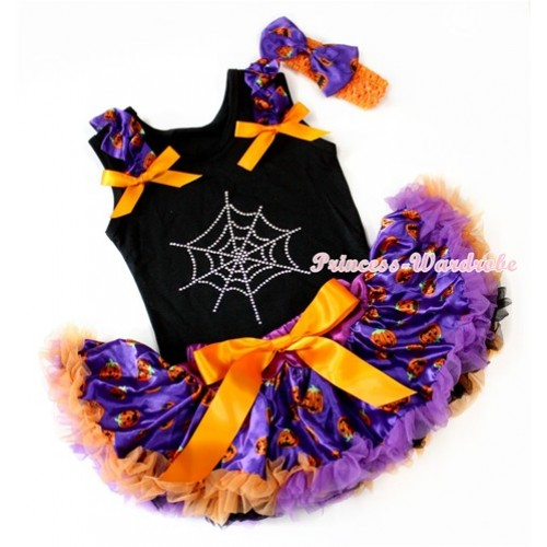 Halloween Black Pettitop with Sparkle Crystal Glitter Spider Web Print & Dark Purple Pumpkin Ruffles & Orange Bow & Dark Purple Orange Black Pumpkin Newborn Pettiskirt With Orange Headband Dark Purple Pumpkin Satin Bow NG1230