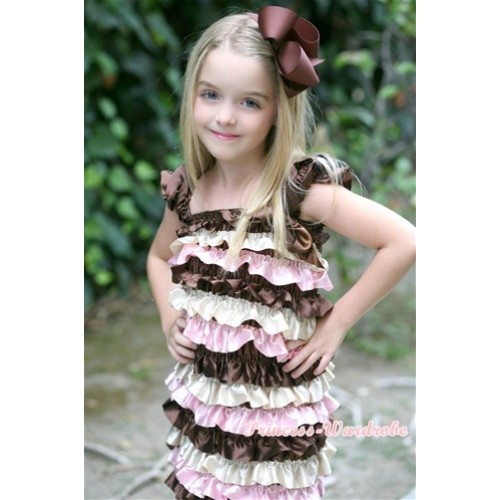 Brown Cream White Light Pink Satin Ruffles Layer One Piece Dress With Cap Sleeve With Brown Bow RD014