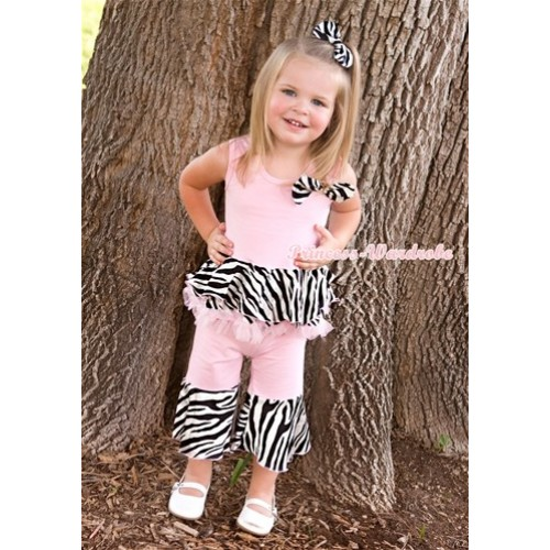Light Pink Zebra Mermaid  Ruffles Tank Top & Flared Pant Set & Zebra Satin Bow P006
