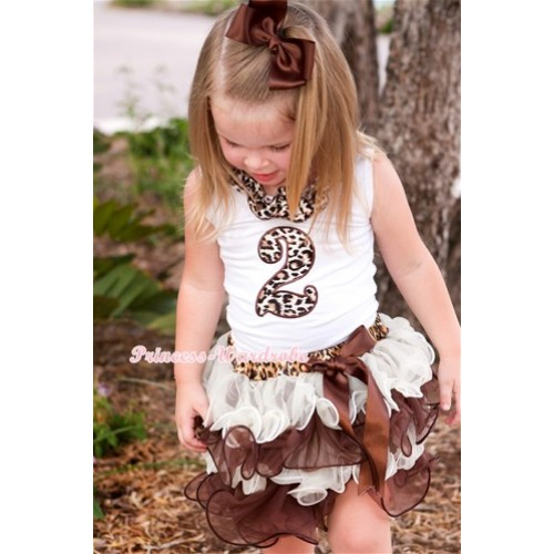 White Tank Top With Leopard Satin Lacing & 2nd Leopard Birthday Number Print With Brown Bow Leopard Waist Cream White Brown Petal Pettiskirt MG698