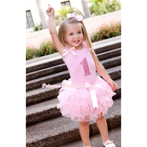 Light Pink Tank Top With Light Pink Ruffles & Light Pink Bow & 1st Sparkle Light Pink Birthday Number Print With Light Pink Bow Light Pink Petal Pettiskirt M333