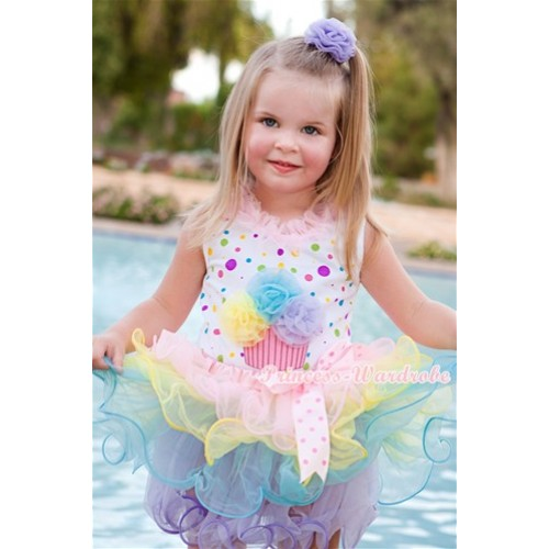 White Rainbow Dots Baby Pettitop with Light Pink Chiffon Lacing & Yellow Light Blue Lavender Rosettes Birthday Cake Print with Light Hot Pink Dots Bow Light Pink Rainbow Petal Baby Pettiskirt NP034
