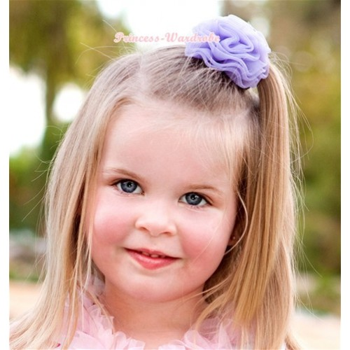 Lavender Rosettes Hair Pin H041