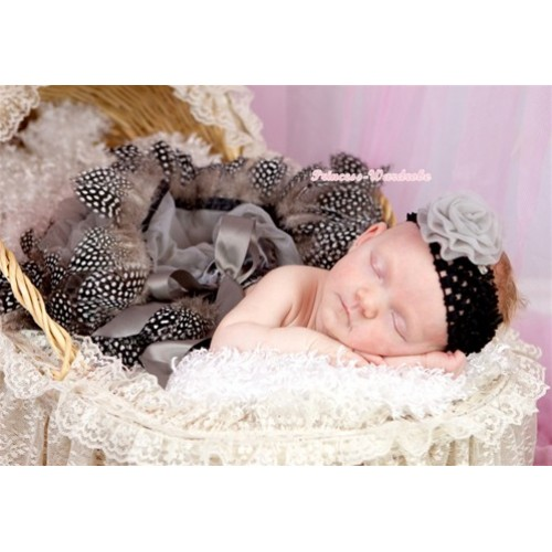 Silver Grey Feather Newborn Pettiskirt N115