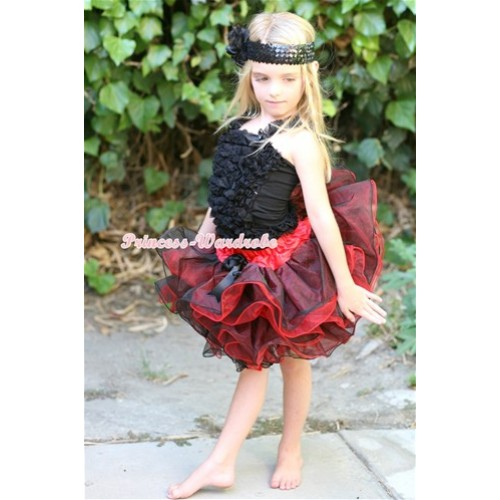 Black Ruffles Tank Top With Black Bow Red Black 8 Layers Full Pettiskirt MR241