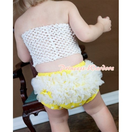 White Crochet Tube Top, White Ruffles Yellow White Polka Dot Panties Bloomers CT321