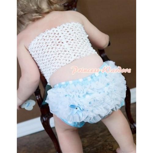 White Crochet Tube Top, White Ruffles Light Blue White Polka Dot Panties Bloomers CT322