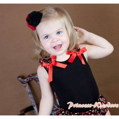 Black Baby Tank Top & Black Cherry Ruffles & Hot Red Bows NT142