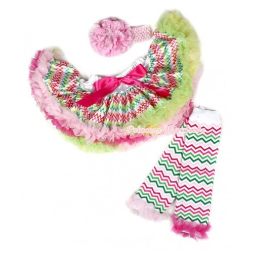 Rainbow Hot Light Pink Green Wave Newborn Pettiskirt,Light Pink Headband Light Pink Peony,Rainbow Wave Leg Warmer With Hot Pink & Light Pink Ruffles 3PC Set N155
