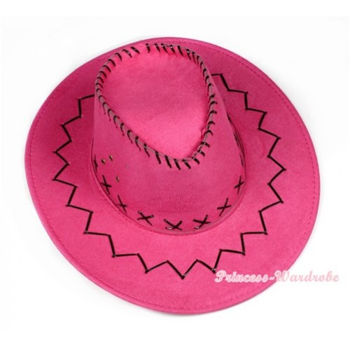 Hot Pink Leather Western Cowboy Wide Brim Hat H728