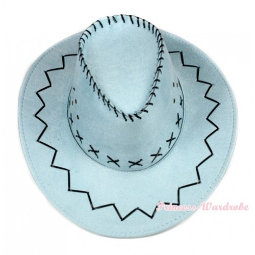 Light Blue Leather Western Cowboy Wide Brim Hat H729
