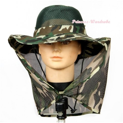 Camouflage Hiking Army Safari Neck Cover Sun Wide Brim Bucket Hat H730
