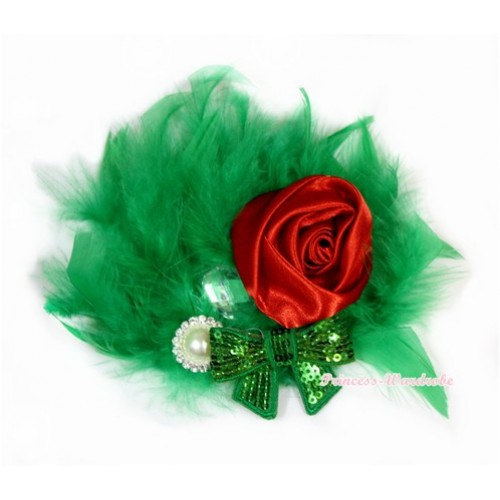 Kelly Green Posh Crystal Satin Rose Sparkle Bow Feather Hair Clip H732