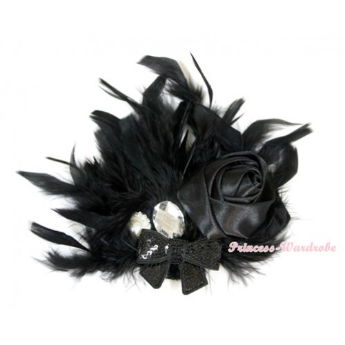 Black Posh Crystal Satin Rose Sparkle Bow Feather Hair Clip H734