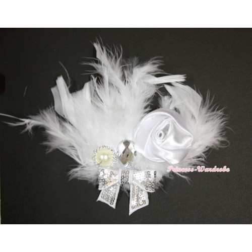 Pure White Posh Crystal Satin Rose Sparkle Bow Feather Hair Clip H736