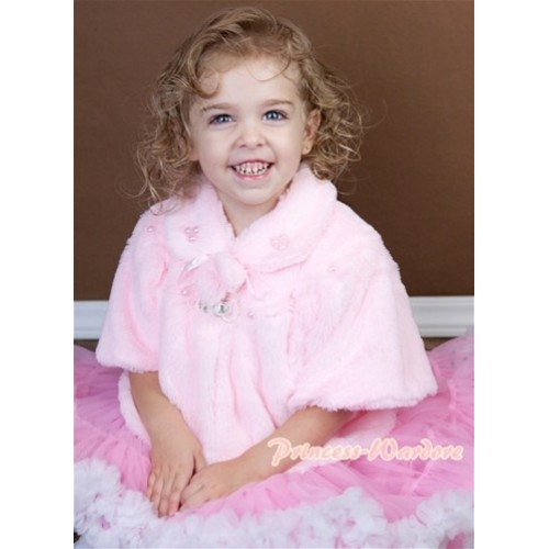 Light Pink Soft Fur with Pearl Bead Shawl Coat SH21