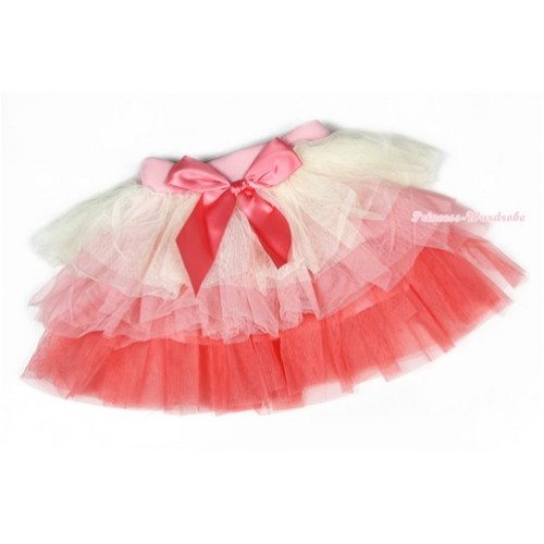 Cream White Light Hot Pink Chiffon Tiered Layer Skirt Dress B193