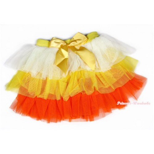 Cream White Yellow Orange Chiffon Tiered Layer Skirt Dress B195