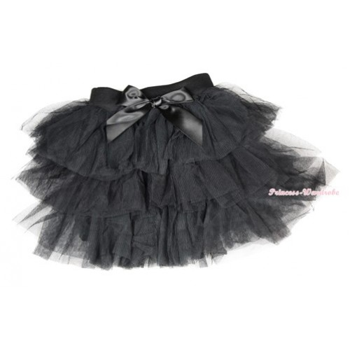 Black Chiffon Tiered Layer Skirt Dress B196